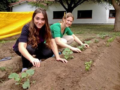 Due volontarie si prendono cura dei nuovi germogli in Argentina
