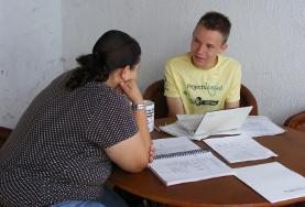 Volontario durante una lezione in Messico