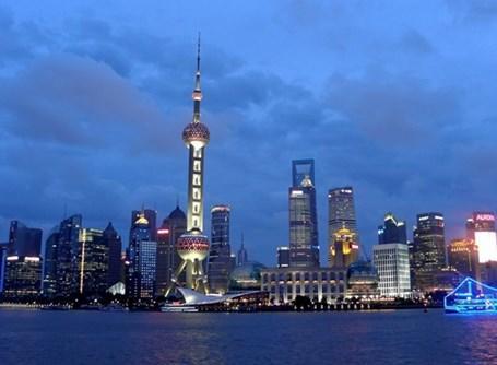 Vista del mozzafiato skyline di Shangai