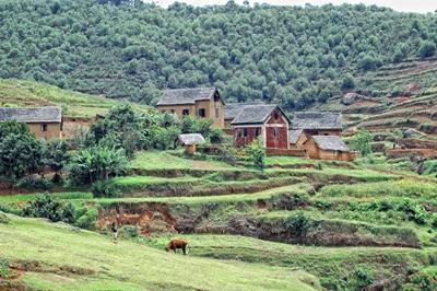 Vista di un villaggio rurale in Madagascar
